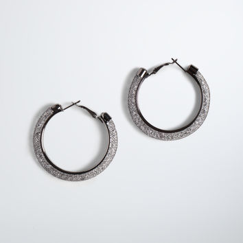 Mesh Bead Hoop Earrings