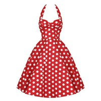 Vintage Red Polka Dot Halter Dress