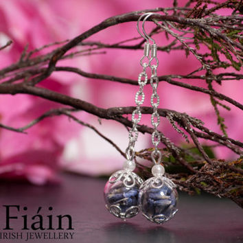 Eco Chic Real Lavender and Hand Blown Glass Earrings, Lavender Jewelry, Eco Friendly Jewelry.