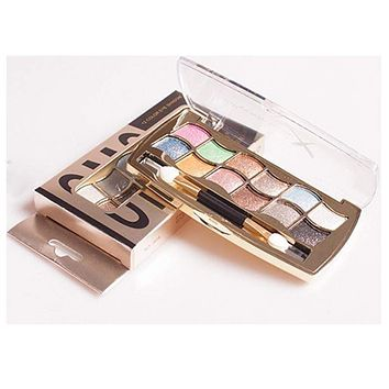 12 colors with brush bright colorful eye shadow palette