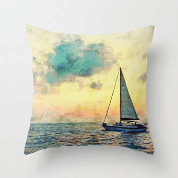 """Sailing Along polyester Decorative Pillow Cover Sunset on the Ocean Home Decor 16""""X16 or 18""""X18"""""""