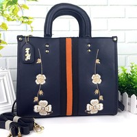 """Coach"" Temperament Retro Fashion Multicolor Flower Embroidery Women Handbag Single Shoulder Messenger Bag"
