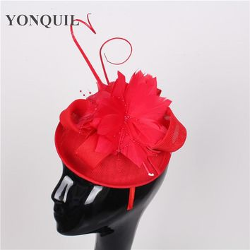 High quality 15colors red fascinator with feather sinamay fascinators hats wedding hair accessories party hats bridal headpieces