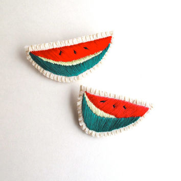 Watermelon hand embroidered brooch set of two textile jewelry MADE TO ORDER summer fashion
