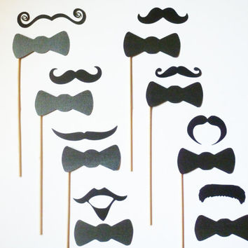 Photo Props 16 - Night Out on the Town. Mustaches and Bow Ties. Perfect for photobooth and parties