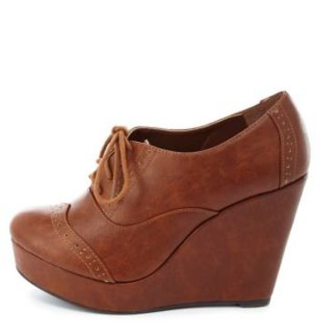 Lace-Up Brogue Oxford Wedges by Charlotte Russe - Cognac