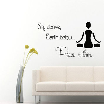 Wall Decals Quote Yoga Sky Above Earth Below Peace Within Gym Home Vinyl Decal Sticker Kids Nursery Baby Room Decor kk572