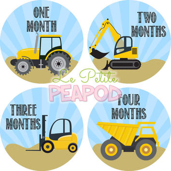 Monthy Baby Shirt Stickers - Dumptruck Construction Design -  Monthly Milestone Stickers - Unisex Monthly Baby Stickers