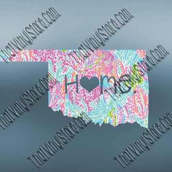 Oklahoma Heart Home Decal | I Love Oklahoma Decal | Homestate Decals | Love Sticker | Preppy State Sticker | Preppy State | 076