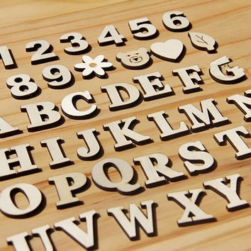 Wooden Letters English Alphabet Word Personalised Name Design Art Craft Free Standing Heart Shape Wedding Home Decor Letras