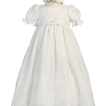Floral Damask Embroidered White Tulle Christening Gown (Baby Girls Newborn - 18 months)