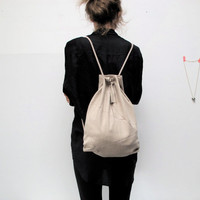 geometric backpack, vegan suede, beige