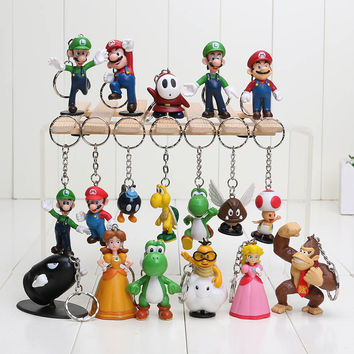 Super Mario 18pcs/set High Quality PVC Super Mario keychain Bros Luigi Action Figures  youshi mario Gift OPP retail