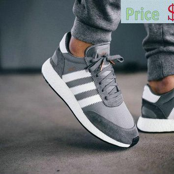 Factory Authentic New adidas Iniki Runner Boost Grey Ash Grey White On Feet sneaker