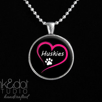 Love Huskies Glass Pendant Necklace Dog Lover Paw Print Dog Breed Jewelry