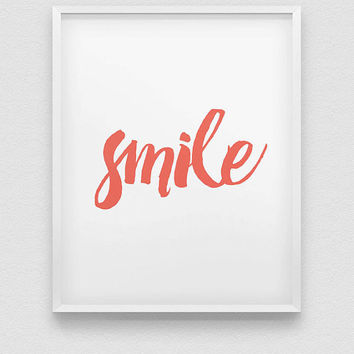 smile print // inspirational print // coral/mint green/black home decor print // positive wall decor print // motivational print