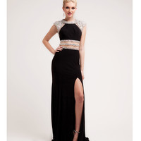 (PRE-ORDER) 2014 Prom Dresses - Black Satin & Chiffon Cut Out Gown