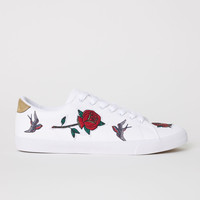 Trainers with embroidery - White - Men   H&M US