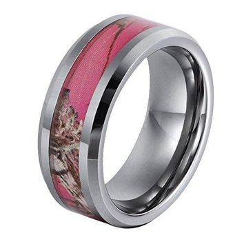 GER 8mm Tungsten Ring Gift Camo Hunting Camouflage Pink Tree Womens Wedding Band Size 6 to 14