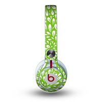 The Light Green & White Floral Sprout Skin for the Beats by Dre Mixr Headphones