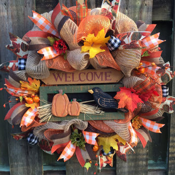 Fall Wreath,Fall Burlap Wreath,Welcome Wreath,Fall Welcome Wreath,Deco Mesh Wreath,Pumpkin Wreath,Welcome Burlap,Fall Decor,Front Door