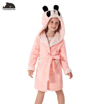 Baby Girls Winter Pajamas Coral Velvet Robes Hooded unicorn Sleepwear Girls Clothes Bathrobe Kids Clothes Children's Clothing