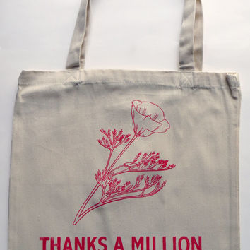 Screenprinted Cotton Twill Thank You Tote - Reusable version of flowered plastic grocery bag - 10% off