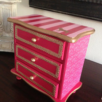 Vintage Jewelry Box Hand Painted Decoupaged inspired by Victoria's Secret Pink I