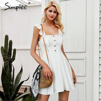 Simplee Elegant Strap sleeveless mini dress women zipper ruffle button white dress female Streetwear short summer dress 2018
