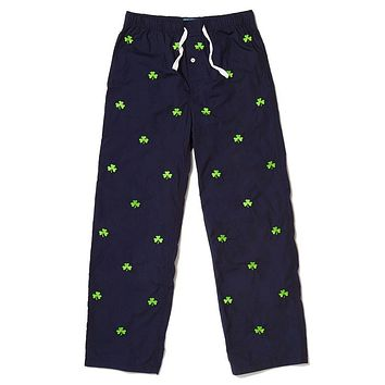 Sleeper Pants in Nantucket Navy with Shamrocks by Castaway Clothing - FINAL SALE
