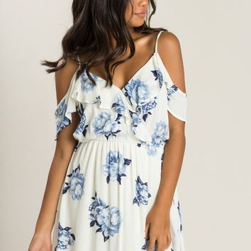 Farrah Ivory Blue Floral Cold Shoulder Dress