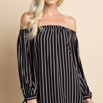 Black Striped Off Shoulder Sleeve Tie Maternity Top