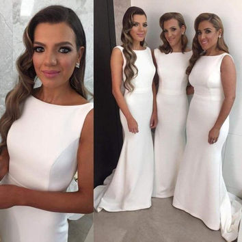 Elegant White Sheath Bridesmaid Dresses 2016 Sleeveless satin maid of honor dresses floor length cheap prom dress