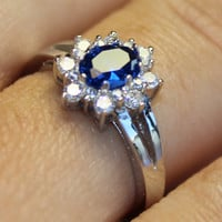 Classic Sapphire Promise Ring on Hand 2