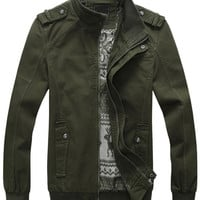 Solid Color Cuffed Sleeve Zip-Up Jacket
