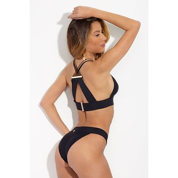 Gia High Cut Cheeky Bikini Bottom - Black