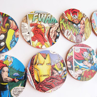 The Avengers Coasters // Superheroes // Repurposed Vintage Comic // Set of 8