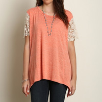 Plus Lace Sleeve Basic Top in Sage