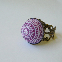 Ring purple dome stone