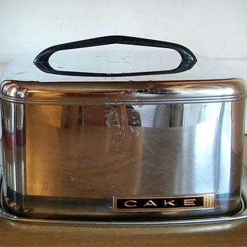 Lincoln BeautyWare, Cake Carrier, Vintage Metal Square Cake Holder, Chrome Cake Carrier, 1950's Cake Holder, Mid Century Cake Carrier