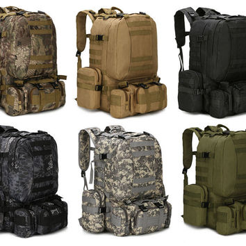 2017 55L Outdoor Webbings Backpack Vintage Military Tactical Amy Backpacks Hiking Camping Camouflage Backpack Climbing Bags