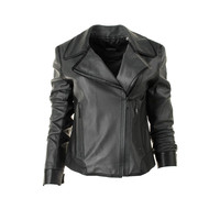Elie Tahari Womens Lamb Leather Lined Motorcycle Jacket