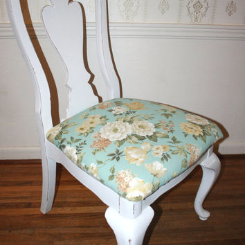 Vintage White Hand Painted Furniture Shabby Cottage Distressed French Provincial Romantic Mahogany Wood Side Chair