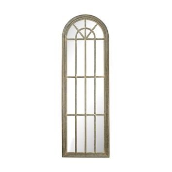 Full Length Arched Window Pane Mirror Grey White Wash