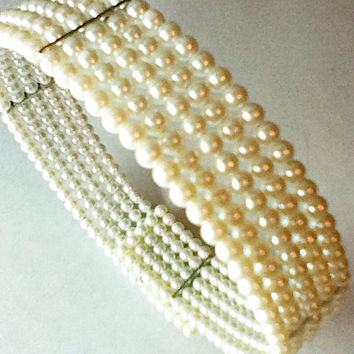 Faux Pearl Collar Choker White Round Pearls Beads
