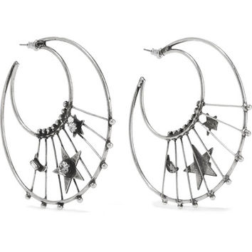 DANNIJO - Fynn oxidized silver-plated Swarovski crystal hoop earrings