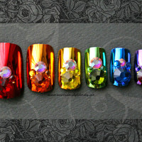 False Nails-Bejeweled Rainbow Press On Mirror Nails With Sticky Tabs