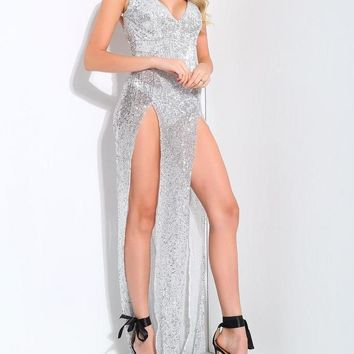 Mindy Finesse Silver Maxi Gown
