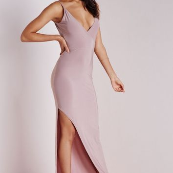 SLINKY COWL BACK MAXI DRESS MAUVE