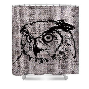 Owl On Burlap - Shower Curtain